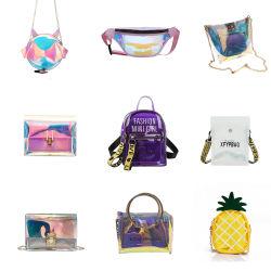 handbag Transparent PVC Women 형식 방수 반짝임 자필 금 사슬 어깨 숙녀 묵 지갑 부대