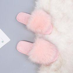 De la mujer Faux Fur SPA plana difusa deslice zapatillas Zapato Abierto Casa cálido invierno zapatos sandalias