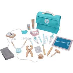 아이들 소녀 소년 아이를 위한 장난감은 실행 목제 닥터 치과의사 약 상자 세트 피복 부대 패킹 게임을 가장한다 Toys Red Medical Kit