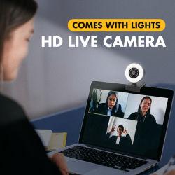 リングライト自動焦点の二重マイクロフォンが付いているFHD 1080P 2Kのウェブ画像360度の旋回装置のパソコンのコンピュータUSBのプロウェブカメラ