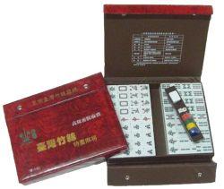 Juego de Mahjong de plástico en la Caja de cuero (MJ-4)