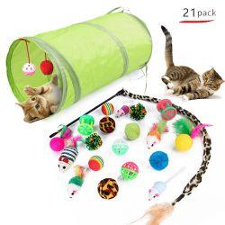21 pcs Cat jouets escamotable avec tunnel de 2 contacts