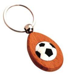Деревянные 3D-PU футбольный мяч футбольный цепочки ключей
