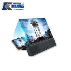Bureau de 12 pouces pliable Stand vidéo haute définition élargie en 3D Evacuation de l'écran de téléphone mobile Loupe avec amplificateur haut-parleur Bluetooth