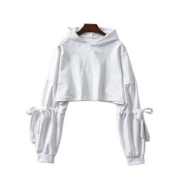2020 Nouveau manchon de femmes coulisse sangles Chandail Capuchon court lâche nombril All-Match Shirt