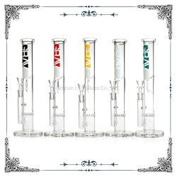 12 pulgadas de Grav tubo recto de vidrio con base de cristal de vidrio tubos de agua fumar narguiles