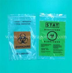 Trois couches de plastique médical spécimen Biohazard Sac avec pochette