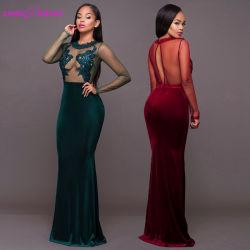 Terciopelo mayorista de señoras la moda mujer sexy vestido de Prom