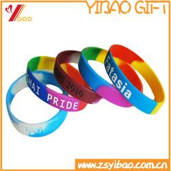 O logotipo personalizado Fashion Sport de borracha de silicone pulseiras banda colorida Slap em relevo de PVC presente de promoção Debossed bracelete de silicone para no mínimo (YB-SW-332)