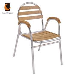 Poids léger de gros de meubles de jardin en bois de teck d'aluminium métallique de lamelles en bois chaise en bois (DC-06310)