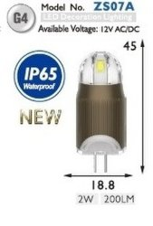 Effektive Wärme Entfernen Sie Wasserdichtes 2W G4 LED-Dekorlicht