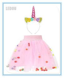 Ballkleid-Einhorn-Mädchen-Ballettröckchen-Fußleisten-Geburtstagsfeier-Fußleisten mit Stirnband-Kind-Einhorn-Kostüm-gesetztem Baby