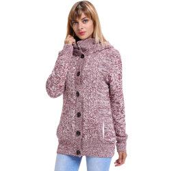 La mujer de manga larga Chaqueta informal suéter Outwear sólidos