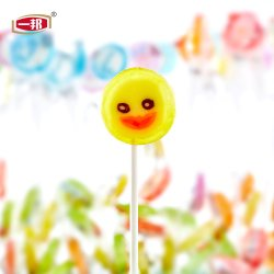 La frutta della caramella dura condice il Lollipop trasparente del reticolo giallo dell'anatra del Lollipop