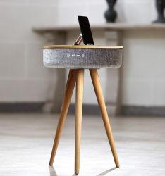 Smart redonda de madeira Chá Alto-falantes de mesa Phone Carregamento sem fios Bluetooth V4.2 Turismo Home Audio Player de música Som 2.0 via