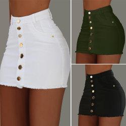 As mulheres Casquilhos inteiriços, Senhora calções de cintura elevada saia Jeans Denim