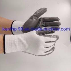 Les gants en nitrile lisse Doublure tricot de polyester transparente