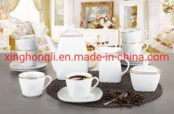 L'insieme di pranzo della porcellana di Decasl 17PCS, il padellame/punti quadrati completi di Kitenware /Tableware /Decoration, OEM ed imballaggio differente, riga dorata progetta l'insieme di tè