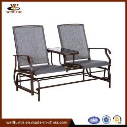 Freizeit-im Freien doppelter Aluminiumschwenker-Schwingstuhl mit Tisch