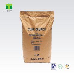 Pieghe biodegradabile della migliore fabbrica 2 3 strati sacchetto del sacco di carta kraft dell'imballaggio dello zucchero della farina dell'alimentazione di pollo di formato di 25 chilogrammi