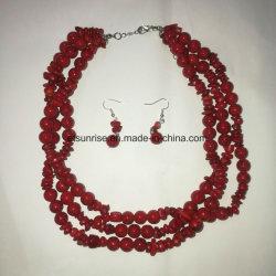 Mode semi pierre précieuse de la magnésite Coral Bead NECKLACE Bijoux fixe