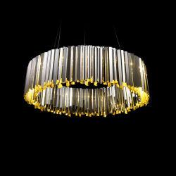 Moderno de Aço Inoxidável Circular de Arte Sala de Jantar Modelo Hotel Lobby Lustre Iluminação Pendente