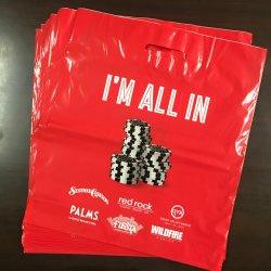 100% virgem PEBD Alça personalizada de plástico bag marca promocionais sacos de polietileno HF1402