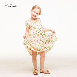 Lindo bordado blanco de algodón niña vestidos de verano