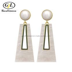 Elegância Mãe de Pearl jóias brincos de pérola de geometria Jóias