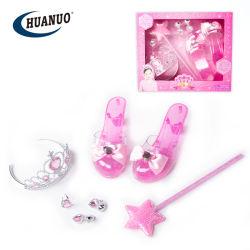 Les filles de jouets en plastique avec Princess Tiara Wand haut talon chaussures