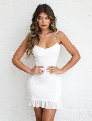 Mesdames sexy robe estivale Backless Slim pour partie courte robe de patinage avec Falbala