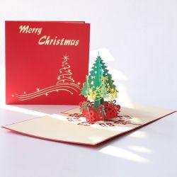 Fröhliche Weihnachtsbaum-Geschenk-Karte 3D knallen oben Karten-handgemachte kundenspezifische Gruß-Karten-Weihnachtsgeschenk-Andenken-Postkarte