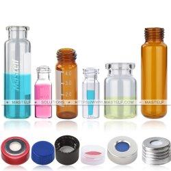 帽子および隔壁を含むガラスこはく色のガラスびんそして明確なGCのHeadspaceの標本のガラスびん