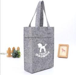 カスタム女性花模様のフェルト袋とのGrilsのためにウールのフェルトの物質的なラップトップ・コンピュータのポロの卸売のトロリーを販売する灰色カラーショッピング手