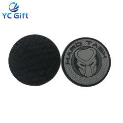 De forma personalizada a etiqueta de Roupa Emblemas de decoração PVC plástico adesivo de borracha Patch acessórios de vestuário com Velcro (PT20)