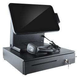 소매점을%s 판매를 위한 15.6inch POS 금전 등록기 POS 시스템 및 인쇄 기계, 스캐너, 현금 상자를 가진 소기업