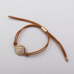 De klassieke Armband van het Leer met Ronde Tegenhanger met Kristal
