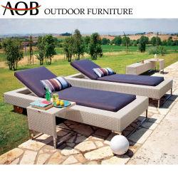 Pátio com jardim exterior chinês Reosrt Hotel Villa móveis de vime Vime Chaise Lounge Sofá espreguiçadeira