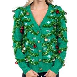 Женщина смешные Рождество по аналогии с оленями длинной втулки раунда горловины свитер
