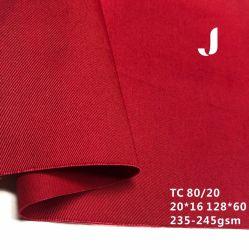 Zoll gefärbtes gesponnenes Gewebe 20*16/128*60 Tc-80/20 245GSM auf Lager