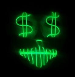 EL flash de lumière froide Dollar USD Masque Masque parti
