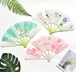 패션 및 휴대용 선물 광고 접이식 PP 팬 및 투명한 컬러풀한 손잡이