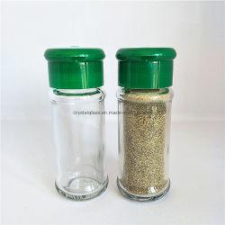 De vidrio vacía redondos de condimento picante Sal, Pimienta Shakers botella con tapones de plástico
