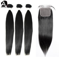 Пользовательские Angelbella Virgin волос метки для связки волосы с помощью 5X5 закрытия