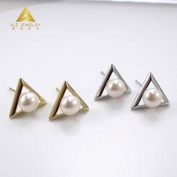 الأزياء المخصصة 925 مجوهرات فضة الاسترليني مكعب Zircon إarring 18K لؤلؤة مجوهرات مطلية بالذهب