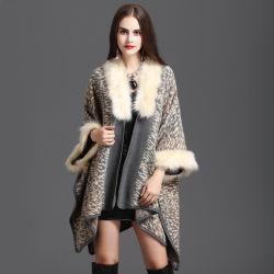 Imprimir Collar Fox chal tejido de punto Chaqueta Chaqueta manto