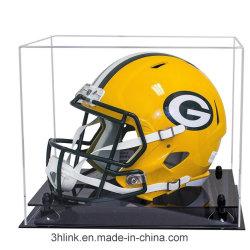 Metacrilato transparente de plexiglás Kopen Caja de casco de fútbol para mostrar