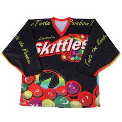 Commerce de gros de la pratique de jeu sublimé des chandails de hockey Club de hockey de formation Shorts Chaussettes chemise de hockey en polyester