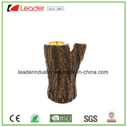 Polyresin Portavelas Wood-Look tallada para la decoración del hogar