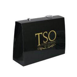 Preiswertes handgemachtes schwarzes Großhandelseinkaufen-Papierbeutel für Geschenk